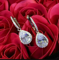 4.00 Ct Pear Cut Diamond Drop/Dangle Earrings 14K White Gold Over Jewelry Gift