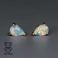 Small Pear Shaped Natural Australian Solid Opal Stud Earrings 14K Yellow Gold