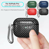 Carbon Fibre TPU Protective Cover For Apple AirPods Pro 3 Charging Case Keychain