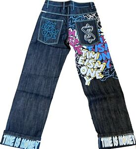 Time is Money mens baggy retro jeans, hip hop urban loose fit skater pants