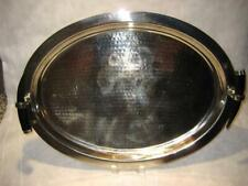 """Vintage Hammered Oval Steel Tray With Faux Horn Handles ~ 22.25"""" X 16.75"""" X 3.5"""""""