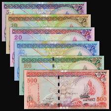 Maldives Set 6 PCS, 5+10+20+50+100+500 Rufiyaa, 2006-2013, P-18-22, 24, UNC