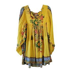 Anthropologie Farm Rio Lorena Patchwork Tunic Dress Medium Yellow Lightweight