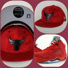 New Era Suede Chicago Bulls Black Metal snapback hat Jordan 5 Red Suede