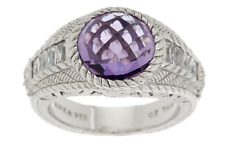 Judith Ripka Sterling 3.85ct. Amethyst & Diamonique Band Ring sz 6, Boxed, Pouch