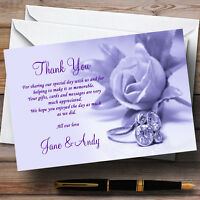 Lilac And Purple Rose Ring Personalised Wedding Thank You Cards