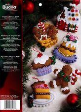 Santa's Sweet Shop ~ Bucilla 6 Piece Felt Ornament Kit #86187, Gingerbread Man