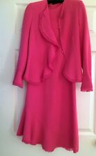 Escada Hot Pink Wool Suit Dress and Jacket Set Size 36