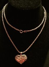 "Vintage 925 Sterling Silver Filigree Heart Pendant Rope Chain 28"" 19 Grams"