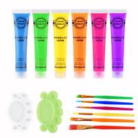 6 Tubes UV Glow Blacklight Makeup Face Paint Bodypaint Washable Neon Fluorescent