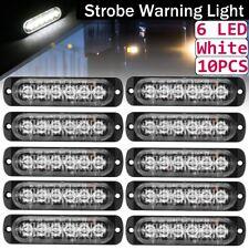10X 6 Led Car Truck Emergency Beacon Warning Hazard Flash Strobe Light Bar White