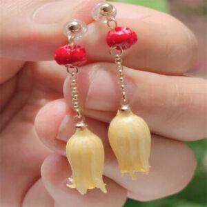 Elegant Natural red jade Earrings pendant Ping buckle 18K Jewelry Aquaculture
