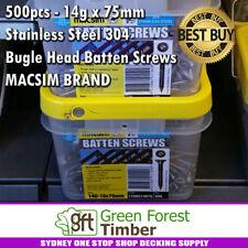 500pcs - 14g x 75mm Stainless Steel 304 Bugle Head Batten Screws MACSIM BRAND