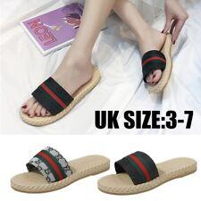 Womens Ladies Slip On Sandals Striped Mules Summer Sliders Open Toe Flip Flops 7