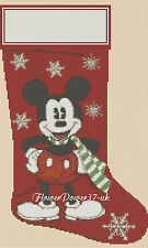 Disney  Cross stitch chart  Christmas Stocking mickey mouse  FlowerPower37