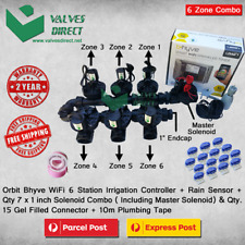 "Orbit B-Hyve 6 Station WiFi Irrigation Combo -Qty 7 x 1"" Solenoids & Rain Sensor"