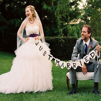 Just Married Garland Wedding Banner Car Bunting Western Venue Party Decors LAUS