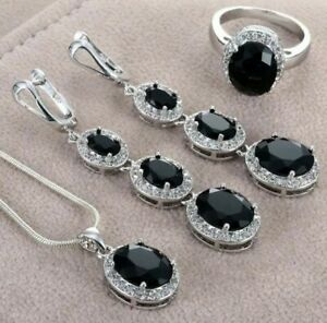"""Black Sapphire Ring Earrings Necklace Jewelry Set 24"""" Snake Chain."""