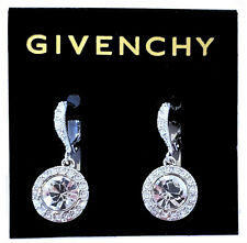 Givenchy Swarovski Crystal & Pave Silk Drop Earrings Silver Tone NEW