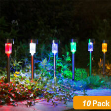 10x COLOUR CHANGING STAINLESS STEEL SOLAR LED GARDEN PATIO POST OUTDOOR LIGHTS