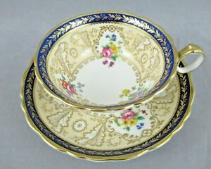 ANTIQUE TIFFANY & CO. CUP & SAUCER FLORAL, GOLD & COBALT CAULDON CHINA  ENGLAND