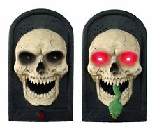 Animated Snake TALKING LIGHTED SKULL DOOR BELL Spooky Sound Halloween Decoration