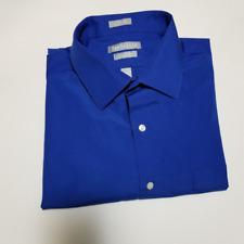 Van Heusen Men's Royal Blue Fitted Dress Shirt | Size 17 32/33 | Poplin