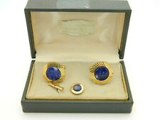 Lamode Karatclad Blue Lapis Lazuli Cufflinks Tie Tack Gold Tone Vintage