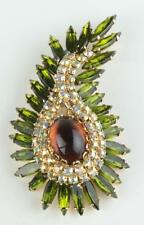 Exceptional Signed Hattie Carnegie Rhinestone Abstract Pin Cabochon Brooch MCM