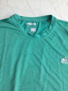 Adidas Trefoil Logo Climacool Aeroknit Men Shirt XL Green Short Sleeve