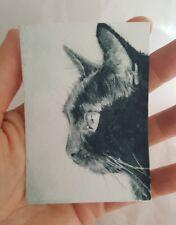 ACEO Original Black Cat Kitten Portrait Watercolor Painting Art M Gordon