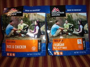Mountain House Chicken and Rice and Lasagna - 2 Single Servings - Best by Oct 27