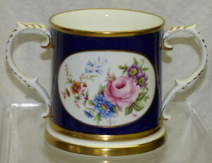 Vtg Rockingham China England Cobalt Blue 2 Handled Mug Loving Cup Floral & Gold