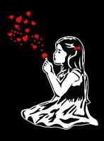 "BANKSY STREET ART CANVAS PRINT Girl blowing hearts 24""X 36"" stencil poster"