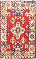 RED/IVORY Hand-Knotted Super Kazak Geometric Oriental Area Rug Wool Carpet 2x3