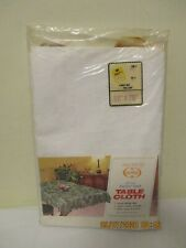 Vtg Carlton Vinyl Flannel Back Tablecloth White w/Floral Pattern 52x70 New Other