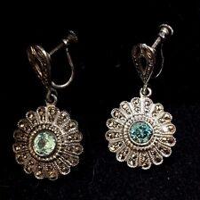 Topaz Starburst Earrings Vintage Sterling Silver
