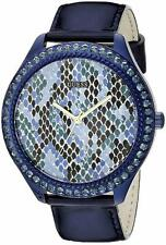 New GUESS Iconic Indigo Blue Python Print Leather Strap Watch 44mm U0625L3
