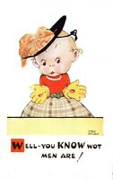 """""""You Know Wot Men Are"""" Mabel Lucie Attwell Signed Vintage Postcard"""