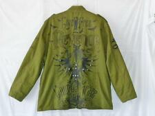 BLAC LABEL Urban Hip Hop Punk Goth Rock Military Embroidered Studded Jacket~4XL