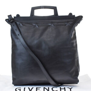 Authentic GIVENCHY Logo Star 2Way Shoulder Hand Bag Leather Black Italy 30MG286