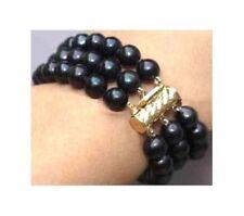 Freshwater Black Pearl Bracelet 7.5'' Pb78 8 Inches 3 Rows 7-8mm Tahitian