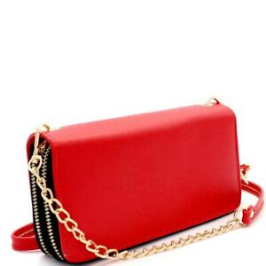 Saffiano PU Leather Double Zip-Around Wallet with Crossbody Shoulder Strap