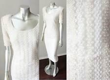 Sheath Pearl Beaded Embellished Vintage White Midi Length Skirt Lace Dress M