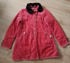 Vintage Raspberry Pink Velvet Hippy Fur Collar Jacket Coat Boho UK 6/8 Age 12