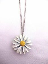 Daisy locket necklace white yellow 18 inch silver base metal cable chain flower