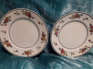 "2× Vintage Ridgways, ""Bow"", Royal semi porcelain 10"", small dinner plates."