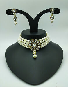 Indian Fashion Choker Ethnic Bollywood Jewelry Gold Plated Pearl Necklace Set