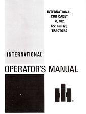 Cub Cadet Model 71 102 122 123 Tractor Operators manual