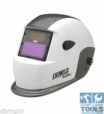 CigWeld WeldSkill Auto-Darkening Helmet Variable Shade - WHITE CARBON